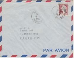 Algérie Lettre De 1962 Avec Affranchissement Marianne Decaris Surchagée EA Oblitération Mostaganen - Algérie (1962-...)