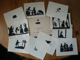 10 Original Scherenschnitte Auf Papier In Postkartengrösse + 1 Umschlag Mit Scherenschnitt !! - Scherenschnitte