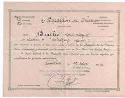 AUTORISATION DE PORTER LE RUBAN DE LA MEDAILLE DE LA VICTOIRE Du 12e BATAILLON DE CHASSEURS EMBRUN - Documents