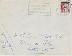 Algérie Lettre De 1962 Avec Affranchissement Marianne Decaris Surchagée EA Oblitération Tlemcen - Algeria (1962-...)