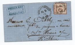 1871 - TIMBRE D'OCCUPATION ALSACE LORRAINE Sur LETTRE De SCHLESTADT / SELESTAT (BAS RHIN) - Marcophilie (Lettres)