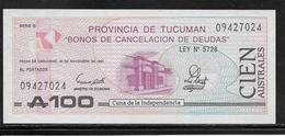 Argentine - Tucuman -  100 Australes - NEUF - Argentine