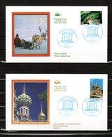 """"""" UNESCO 2003 : RENNE / LAPONIE .... """" Sur 2 Enveloppes 1er Jour. N° YT SERV 128 129.  Parfait état. FDC - 2000-2009"""