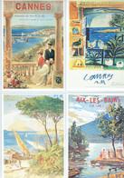 4 Pubs Anciennes - Cannes Ch De Fer - Aix Les Bains Année 1920 A 1930 - Eisenbahnverkehr