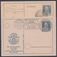 "P 965, Zudruck ""Postwertzeichenschau Cottbus"", 2 Karten, Versch. Sst. - Gemeinschaftsausgaben"