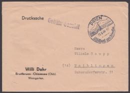 """""""Gebühr Bezahlt"""", L1 Auf Drucksache """"Prien"""", 25.6.46 - Bizone"""