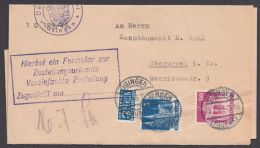 """MiNr. 75, 94, MiF Auf Portoger. Fern-ZU """"Usingen"""", 16.7.49 - Bizone"""