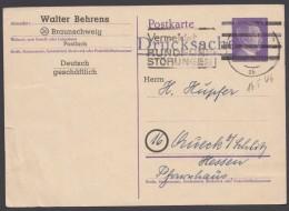 """DR P 299, Zudruck """"Behrens, Braunschweig"""", Bedarf 1946 - Bizone"""