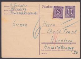 """P 903 I/01, Bedarf Mit Zusatzfr. """"Nürnberg"""", 11.11.46, Nachgebühr - Bizone"""