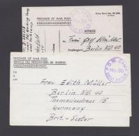 "2 Belege ""Kriegsgefangenenpost"", Juni/Juli 1946 - Bizone"