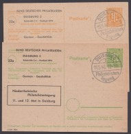 "P 904/5, Je Zudruck ""Philatelistentag Duisburg"", Pass. Sst. - Bizone"