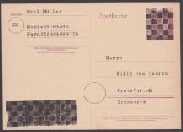 DR P 314 II, Schachbrettüberdruck, Mit Adresse Versehen, Ungebraucht - Französische Zone
