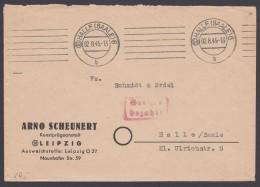 """""""Gebühr Bezahlt"""", Roter Ra """"Halle"""", Ortsbrief, 2.8.45 - Sowjetische Zone (SBZ)"""
