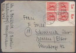 MiNr. 3 A, ER-4er Block Als MeF, Bedarf, 1.4.46 - Sowjetische Zone (SBZ)