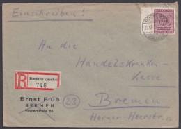 """MiNr. 137 X, Randstück Als EF, R-Brief """"Rochlitz"""", 12.12.45, Mit Ankunft - Sowjetische Zone (SBZ)"""