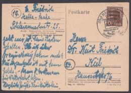 """MiNr. 187, EF Auf Bedarfskarte """"Halle"""", 5.7.48 - Sowjetische Zone (SBZ)"""