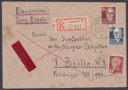 """MiNr. 226/7, DDR 252, MiF Auf R-Eilboten """"Leipzig"""", 22.5.52 - Sowjetische Zone (SBZ)"""