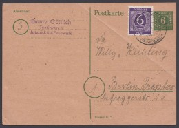 "P 6 D, Bedarf Mit Zusatzfr. ""Jatznick über Pasewalk"", 12.4.46, Diagonaler Eckbug - Sowjetische Zone (SBZ)"