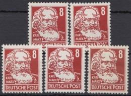 """MiNr. 329 """"Marx"""", 5 Werte, Nach Typen Nicht Durchsucht,** - Ungebraucht"""