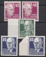 """MiNr. 336, 338, 339 """"Köpfe II"""", 5 Werte, Versch. Farben/Typen, ** - DDR"""