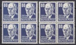 """MiNr. 339 """"Thälmann"""", 2x 4er Block, Versch. Typen/Farben - Ungebraucht"""