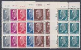 "MiNr. 845, 847,934/5, 937/8 ""Ulbricht"", 5x 9er OR-Block, 1x OR 6er Block, Alle Währung ""M"" - DDR"