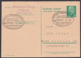 "P 73 A, Bedarf Mit Bahnpost ""Leipzig-Frankfurt/Main"", 1965 - Postkarten - Gebraucht"