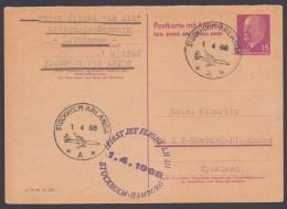 "P 74 A, Retour Aus Stockholm, ""Erstflug Stockholm-Hamburg"", 1.4.68 - Postkarten - Gebraucht"