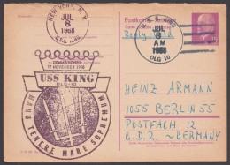 """P 74 A, Retour Aus USA, Cachet """"USS King"""" - DDR"""