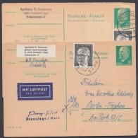 P 77 A, 2 Karten Aus Einer Korrespondenz, Je Mit Luftpostzuschlag Retour In Die DDR - Postkarten - Gebraucht