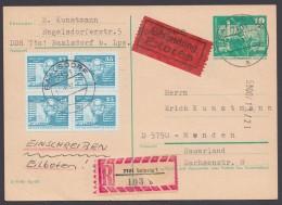 P 79, Bedarfs-R-Eilboten Ind Ie BRD, 1982, Pass. Zusatzfrankatur - DDR