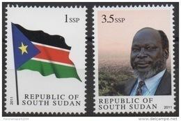 Sud-Soudan South Sudan Südsudan 2011 Dr John Garang Flag 1 & 3,5 SSP MNH ** Drapeau Flagge - South Sudan