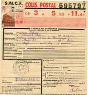 FRANCE BULLETIN D'EXPEDITION D'UN COLIS POSTAL AVEC OBLITERATION MURET LE CHATEAU 25-11-43 AVEYRON - Colis Postaux