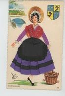 FEMMES - FRAU - LADY - Jolie Carte Fantaisie Brodée Femme DAUPHINOISE - Brodées