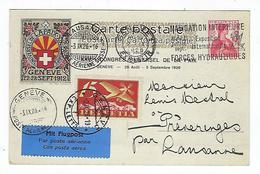 Carte De Suisse, Genève - Lausanne Le 2 Septembre 1926 Via Flugpost - Postmark Collection