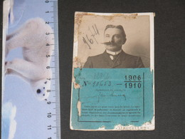 MILITAIRES BELGES - CARTE REDUCTIONS TRANSPORTS EN CHEMINS DE FER  VALABLE DE 1906 A 1910 - Titres De Transport
