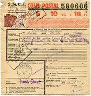 FRANCE BULLETIN D'EXPEDITION D'UN COLIS POSTAL AVEC OBLITERATION FOISSAC 27-12-43 AVEYRON - Cartas