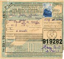FRANCE BULLETIN D'EXPEDITION D'UN COLIS POSTAL AVEC OBLITERATION FOISSAC 22-9-43 AVEYRON - Cartas