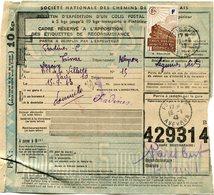 FRANCE BULLETIN D'EXPEDITION D'UN COLIS POSTAL AVEC OBLITERATION FOISSAC 15-9-43 AVEYRON - Cartas