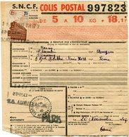FRANCE BULLETIN D'EXPEDITION D'UN COLIS POSTAL AVEC OBLITERATION FLORENTIN LA CAPELLE 20-11-43 AVEYRON - Cartas