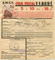 FRANCE BULLETIN D'EXPEDITION D'UN COLIS POSTAL AVEC OBLITERATION DURENQUE 16-11-43 AVEYRON - Cartas