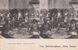 PARIS XIX° CPA STEREO PHOTO Intèrieur USINE Julien DAMOY ATELIER De CONFISERIE Ouvriers Ouvrières Au Travail - District 19