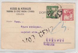 SHS Chainbreakers Verigari Stamps In Kiss & Kraus Company Postal Card Travelled 1919 Osijek To Ludbreg Censored - Croatia