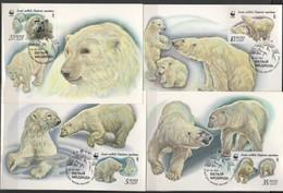 USSR - Soviet Union 1987 Sowjetunion Mi 5694MK-5697MK WWF. World Wildlife: Polar Bear / Eisbär - W.W.F.