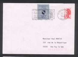 Courrier Posté à Reims Suite à Grève à Paris En 1988 - 2 Enveloppes - Liberté De Gandon - Strike Stamps