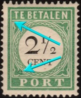 "~~ Curacao 1892/1898  - Port Postage Due - Type I Plaatfout Error ""Open Lijst"" + HALO - NVPH  P11fb * MH  ~~~ - Curaçao, Antilles Neérlandaises, Aruba"
