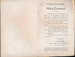 GENT SINT DENIJS WESTREM 1854 - DERBY CONTINENTAL PRIX DONNE PAR LA SOCIE DES CORSES DE GAND 3000 FRANS - Faire-part