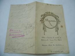 MENù FRANCESE ANNIVERSARIO ANNIVERSAIRE MADEMOISELLE JEAN VAN BIGNOOT 1930. - Menu