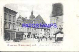 92903 GERMANY GRUSS AUS BRANDENBURG STREET CANCEL TRAIN CIRCULATED TO BERLIN POSTAL POSTCARD - Allemagne