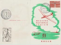 Meeting National Aérien Rouen 1962 Carte Souvenir Avec Vignette Au Verso - Erinnofilia